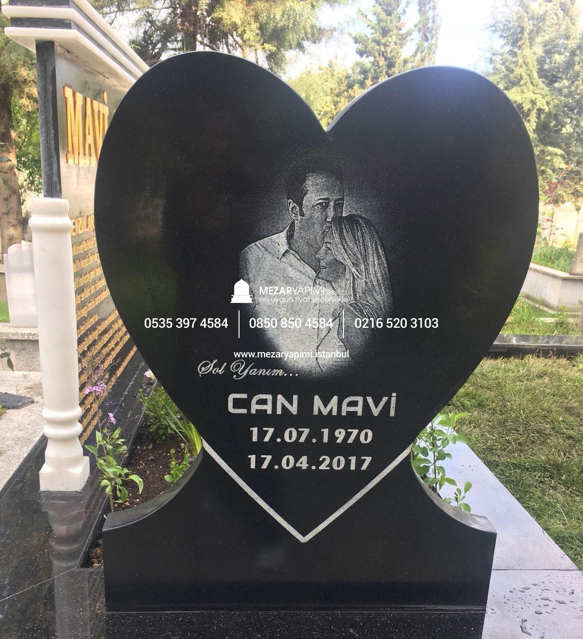 Kalp şeklinde Mezar Taşı üzerine Lazer Resim Mezar Yapımı Istanbul